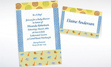 Custom Jungle Animal Patchwork Baby Shower Invitations & Thank You Notes
