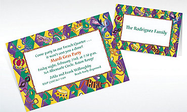 Custom Harelequin Border Mardi Gras Invitations & Thank You Notes