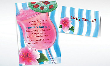 Custom Tropical Drink Invitations & Thank You Notes