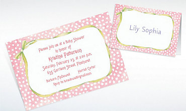 Custom Pink Polka Dots & Bow Baby Shower Invitations & Thank You Notes