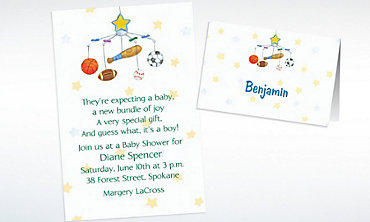 Custom Sporty Mobile Baby Shower Invitations & Thank You Notes