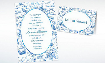 Custom Old MacDonald Toile Baby Shower Invitations & Thank You Notes