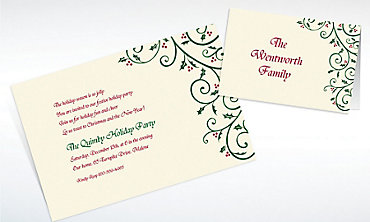 Custom Delicate Holly Scroll Invitations & Thank You Notes