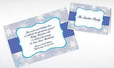 Custom Stylish Snowflake Border Invitations & Thank You Notes