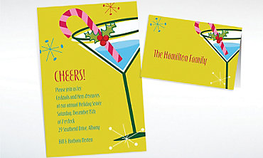 Custom Christmas Party Cocktail Invitations & Thank You Notes
