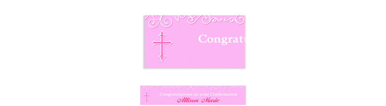 Custom Filigree & Cross Pink Banner