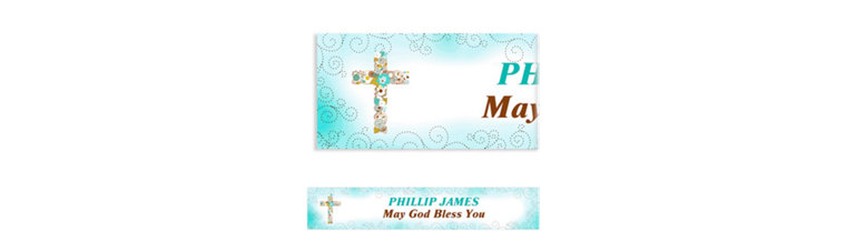 Custom Floral Cross Blue Banner