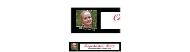 Custom Graduate White Slant Photo Banner