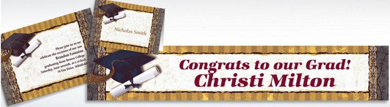 Custom Golden Grad Invitations & Thank You Notes