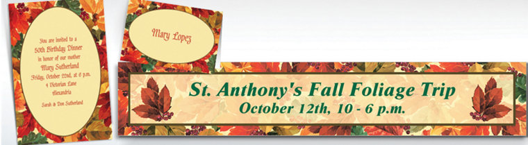 Custom Elegant Leaves Invitations & Thank You Notes