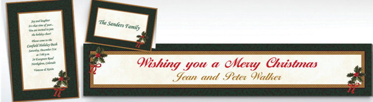 Custom Classic Holly Christmas Invitations & Thank You Notes