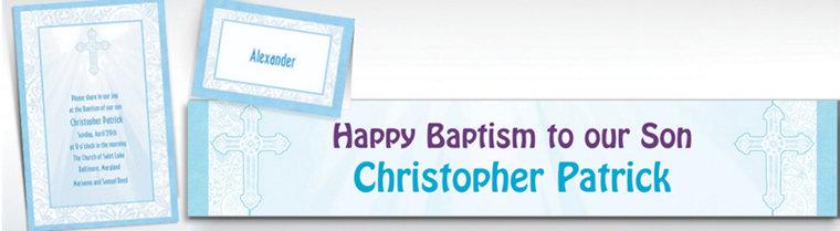 Custom Blue Radiant Cross Religious Invitations & Thank You Notes