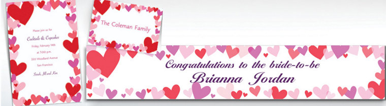 Custom Hearts Valentine's Day Invitations & Thank You Notes