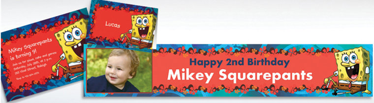 Custom SpongeBob Simply Invitations, Thank You Notes & Banners