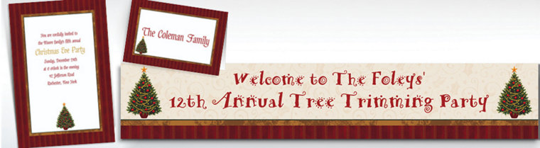 Custom Twinkling Tree Christmas Invitations & Thank You Notes