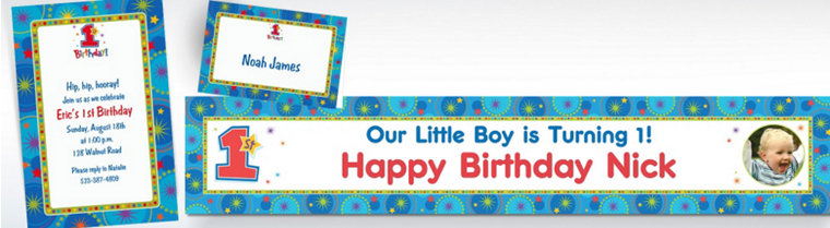 Custom One-Derful Boy 1st Birthday Invitations & Thank You Notes