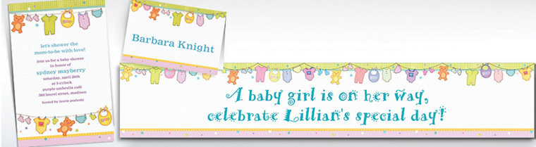 Custom Cuddly Clothesline Baby Shower Invitations & Thank You Notes
