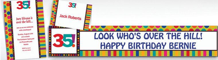 Custom Birthday Dots & Stripes 35th Birthday Invitations