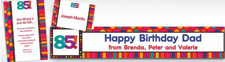 Custom Birthday Dots & Stripes 85th Invitations