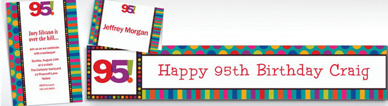 Custom Birthday Dots & Stripes 95th Invitations