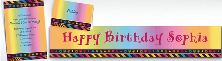 Custom Neon Birthday Girl Invitations, Thank You Notes & Banners