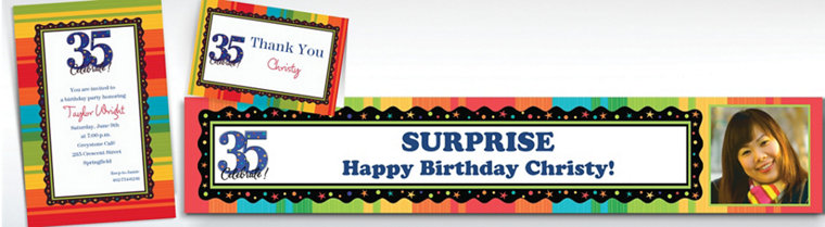 Custom A Year to Celebrate 35th Birthday Invitations & Thank You Notes