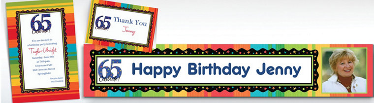 Custom 65th Birthday Invitations & Thank You Notes