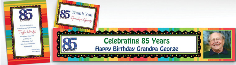 Custom A Year to Celebrate 85th Invitations & Thank You Notes