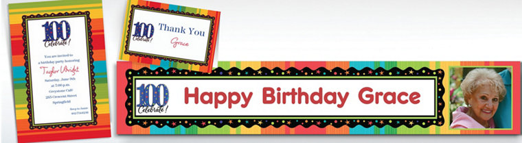 Custom A Year to Celebrate 100th Birthday Invitations & Thank You Notes