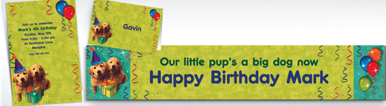 Custom Dogs Invitations, Thank You Notes & Banners