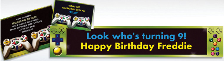 Custom Video Game Invitations & Thank You Notes