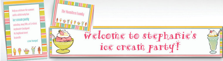 Custom Sweet Soiree Ice Cream Party Invitations & Thank You Notes