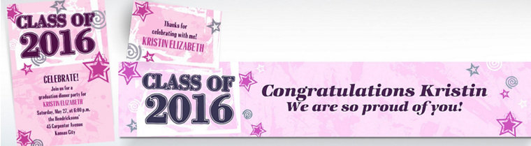 Custom Pink Class Year with Stars Graduation Invitations & Thank You Notes