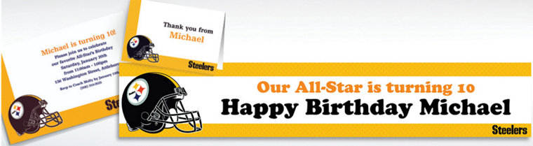 Custom Pittsburgh Steelers Invitations & Thank You Notes