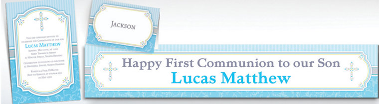 Custom Blue Communion Blessings Invitations & Thank You Notes