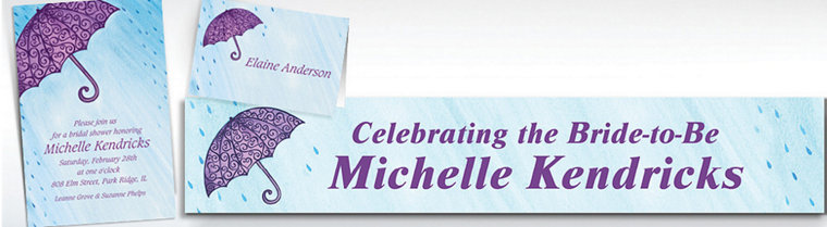 Custom Filigree Umbrella Bridal Shower Invitations & Thank You Notes