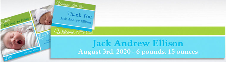 Custom Welcoming Words Boy Announcements, Thank You Notes & Banners