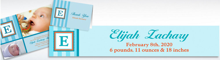Custom Jumbo Initial Boy Announcements, Thank You Notes & Banners