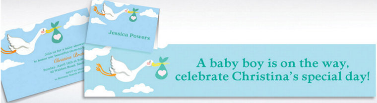 Custom Stork and Baby Bundle Invitations & Thank You Notes