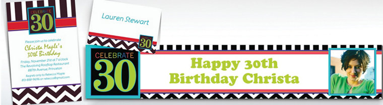 Custom 30th Birthday Invitations & Thank You Notes