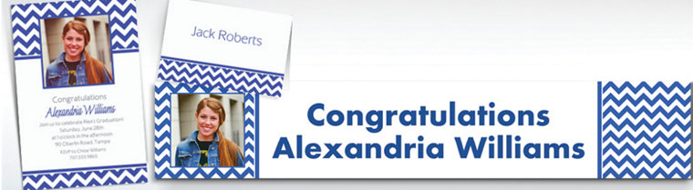 Custom Royal Blue Chevron Invitations & Thank You Notes