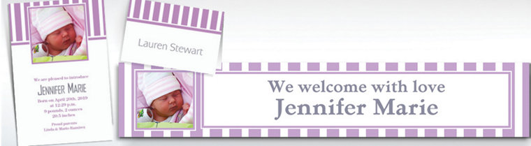 Custom Lavender Striped Invitations & Thank You Notes