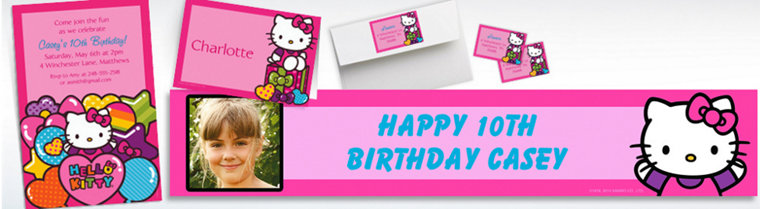Custom Rainbow Hello Kitty Invitations & Thank You Notes