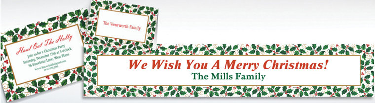 Custom Seasonal Holly Invitations & Thank You Notes
