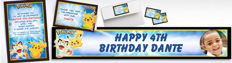 Custom Pokemon Invitations & Thank You Notes