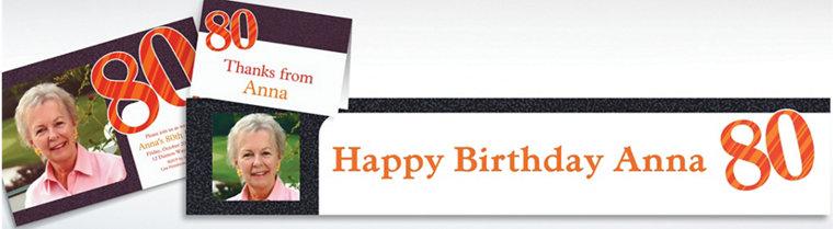 Custom Big Celebration 80 Photo Invitations