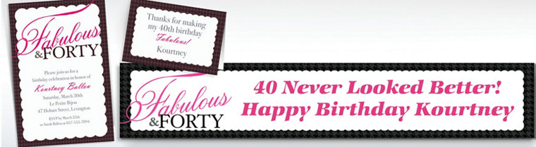 Custom Fabulous & Forty Invitations