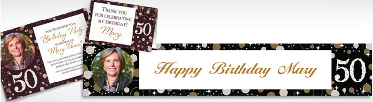 Custom Sparkling Celebration 50 Invitations & Thank You Notes