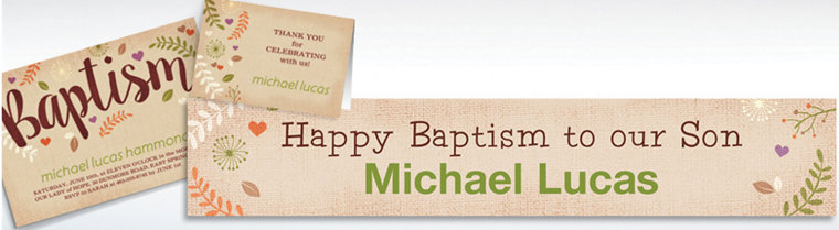 Custom Baptism Leaves Invitations & Thank You Notes