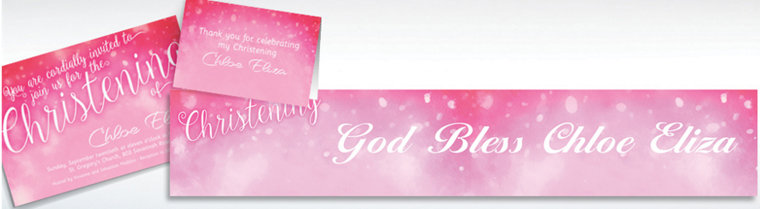Custom Handwriting on Ombre Pink Invitations & Thank You Notes